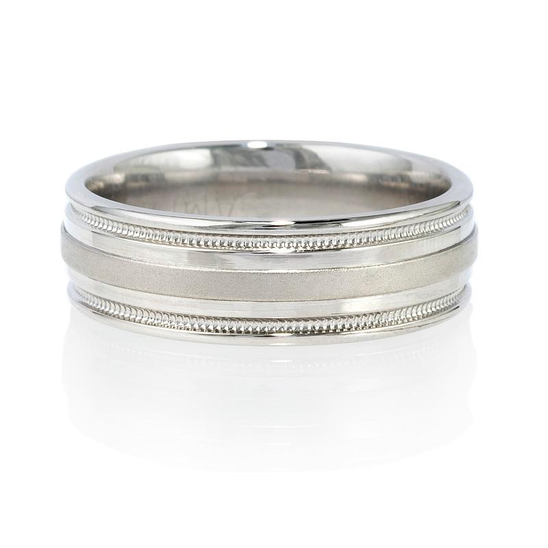 Antique Style Platinum Wedding Band Ring