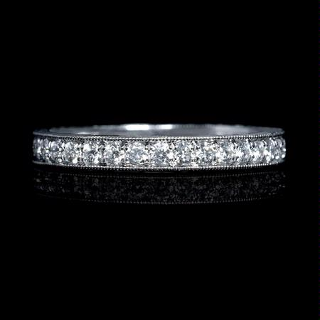 .61ct Diamond Antique Style 18k White Gold Eternity Ring
