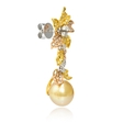 2.80ct Diamond and South Sea Golden Pearl 18k Three Tone Gold Dangle Earrings
