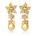 Diamond and South Sea Golden Pearl 18k Three Tone Gold Dangle Earrings