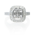 .57ct Diamond Antique Style Platinum Halo Engagement Ring Setting