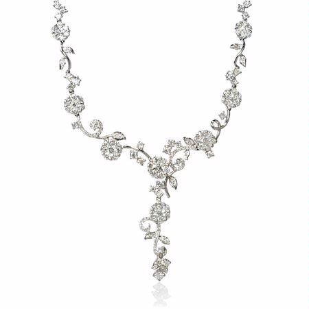 Diamond 18k White Gold Floral Drop Necklace