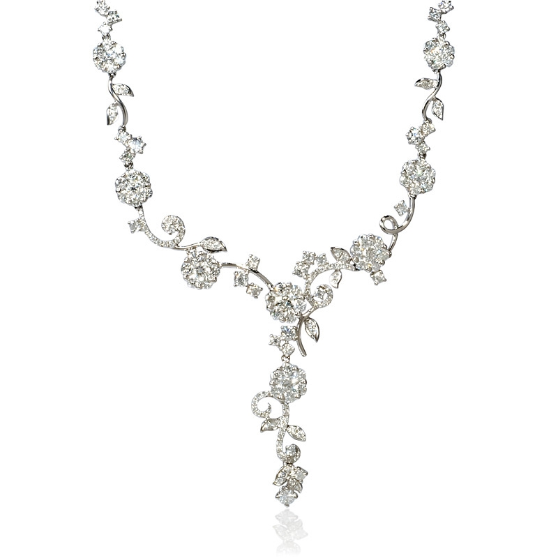 be829f8a2a2071 4.82ct Diamond 18k White Gold Floral Drop Necklace