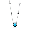 1.14ct Diamond and Turquoise 18k White Gold and Black Onyx Pendant Necklace