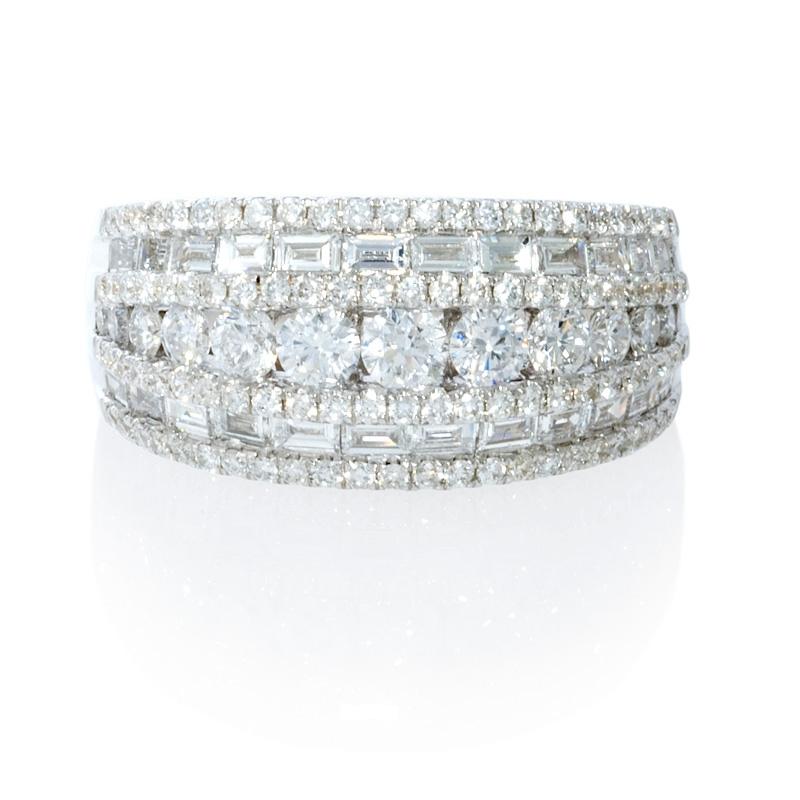 diamond 18k white gold multi row ring. Black Bedroom Furniture Sets. Home Design Ideas