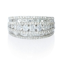 Diamond 18k White Gold Multi Row Ring
