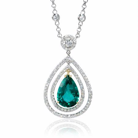 1.94ct Diamond and Emerald 18k White Gold Necklace