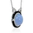 .89ct Diamond and Chalcedony 18k White Gold and Black Onyx Pendant Necklace