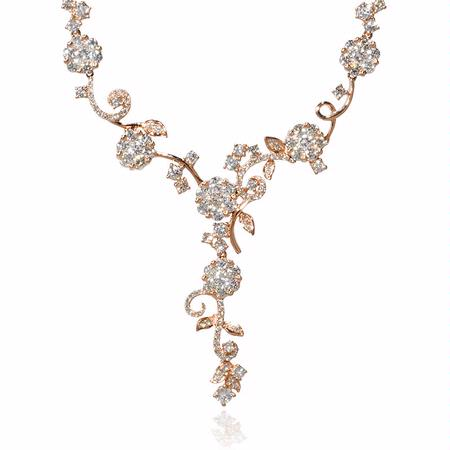 Diamond 18k Rose Gold Floral Drop Necklace