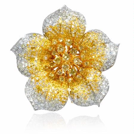 Diamond 18k Two Tone Gold Flower Pin