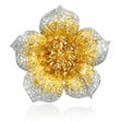 3.32ct Diamond 18k Two Tone Gold Flower Brooch Pin