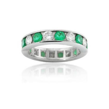 Diamond & Emerald Platinum Eternity Wedding Band Ring