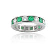 2.60ct Diamond & Emerald Platinum Eternity Wedding Band Ring