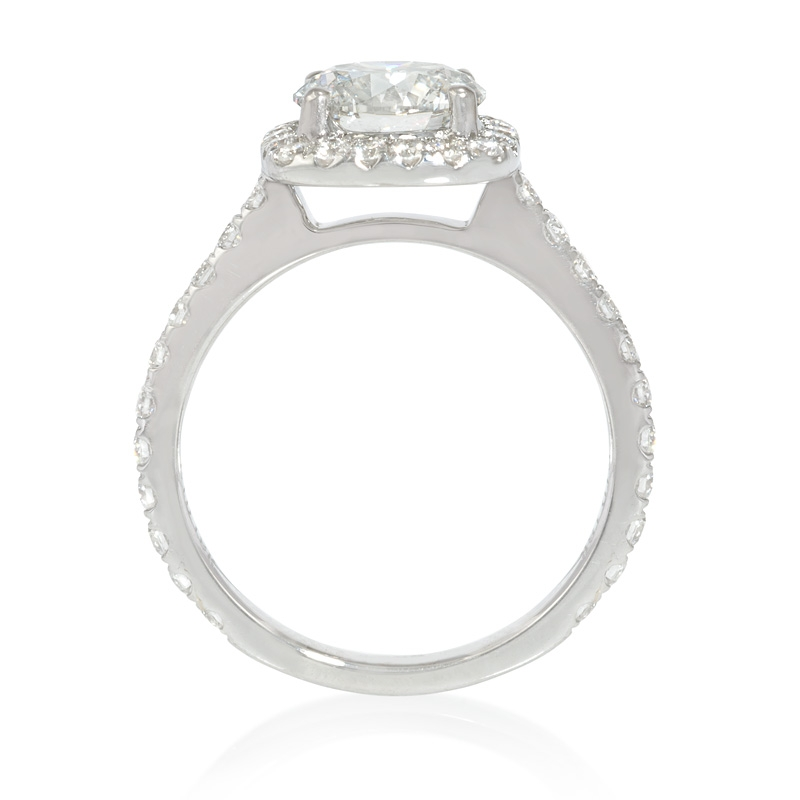 64ct Diamond Platinum Halo Engagement Ring Setting
