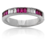 Diamond & Ruby 18k White Gold Ring