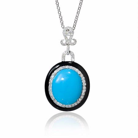 82ct diamond and turquoise 18k white gold and black onyx pendant 82ct diamond and turquoise 18k white gold and black onyx pendant necklace mozeypictures Gallery