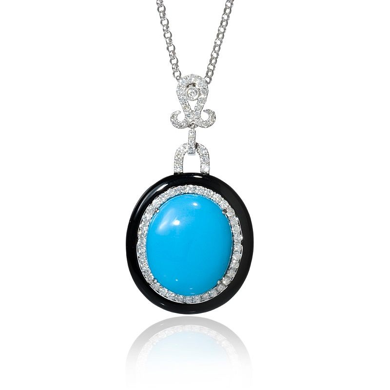 82ct diamond and turquoise 18k white gold and black onyx pendant 82ct diamond and turquoise 18k white gold and black onyx pendant necklace aloadofball Images