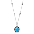 .82ct Diamond and Turquoise 18k White Gold and Black Onyx Pendant Necklace