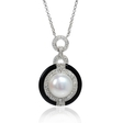 .74ct Diamond and Pearl Antique 18k White Gold and Black Onyx Pendant Necklace