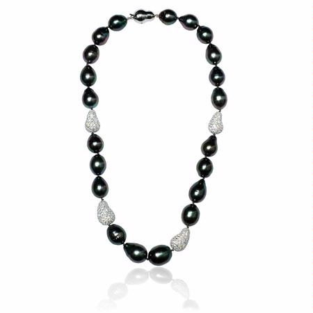 Diamond and Tahitian Pearl 14k White Gold Necklace