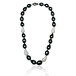 8.50ct Diamond and Tahitian Pearl 14k White Gold Necklace