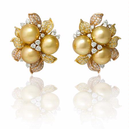 Diamond and South Sea Pearl 18k Three Tone Gold Cluster Earrings