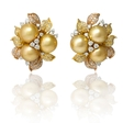 3.96ct Diamond and South Sea Pearl 18k Three Tone Gold Cluster Earrings