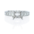 1.42ct Diamond Antique Style 18k White Gold Engagement Ring Setting