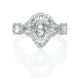.74ct Diamond 18k White Gold Halo Engagement Ring Setting