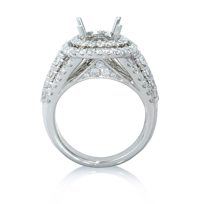 1 30ct Diamond 18k White Gold Double Halo Engagement Ring Setting