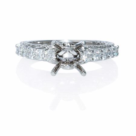 Diamond Antique 18k White Gold Engagement Ring Setting