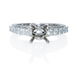 1.19ct Diamond Antique 18k White Gold Engagement Ring Setting