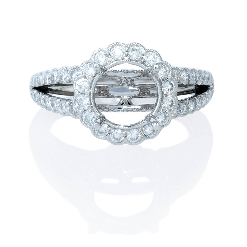 72ct antique style 18k white gold halo engagement