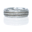 Men's Diamond Antique 14k White Gold Eternity Wedding Band Ring
