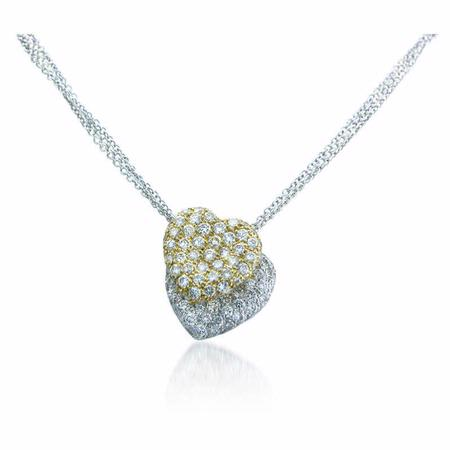 Diamond 18k Two Tone Gold Double Heart Pendant Necklace