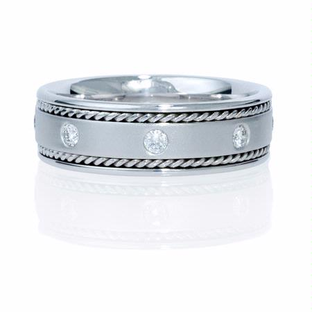 Natalie K Men's Diamond 14k White Gold Wedding Band Ring