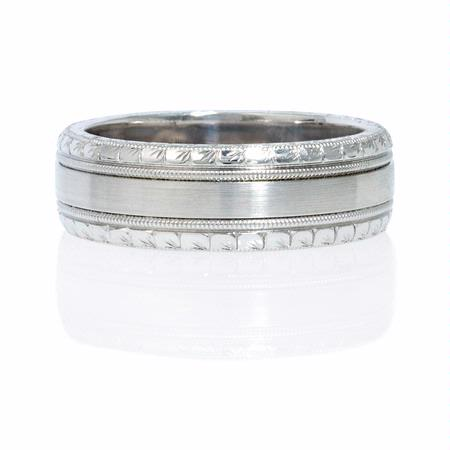 Natalie K Men's 14k White Gold Wedding Band Ring