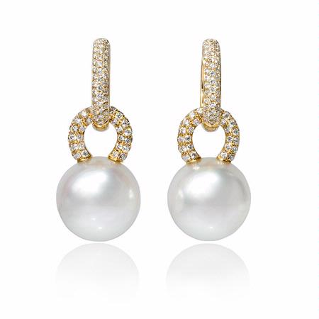 Diamond and South Sea Pearl 18k Yellow Gold Dangle Earrings