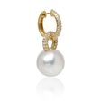.68ct Diamond and South Sea Pearl 18k Yellow Gold Dangle Earrings