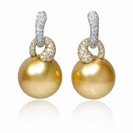 Diamond and South Sea Pearl 18k Two Tone Gold Dangle Earrings