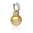 .65ct Diamond and South Sea Pearl 18k Two Tone Gold Dangle Earrings