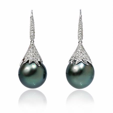 Diamond and Tahitian Pearl 18k White Gold Dangle Earrings