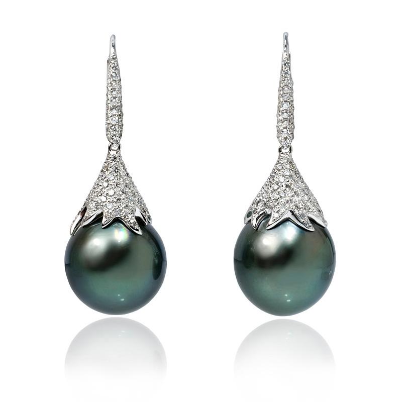 1 08ct Diamond And Tahitian Pearl 18k White Gold Dangle