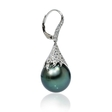 1.08ct Diamond and Tahitian Pearl 18k White Gold Dangle Earrings