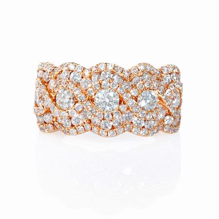 1.77ct Diamond 18k Rose Gold Cluster Wave Ring