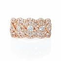 Diamond 18k Rose Gold Cluster Wave Ring
