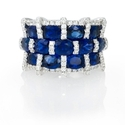 Diamond and Oval Blue Sapphire 18k White Gold Three Row Wide Band Ring