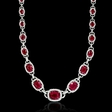 8.70ct Diamond and Ruby 18k White Gold Necklace