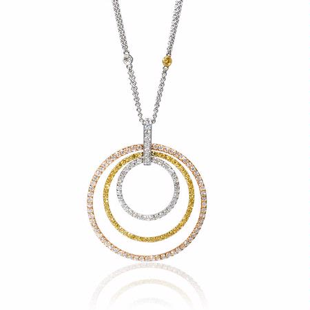 Diamond 18k Three Tone Gold Pendant Necklace