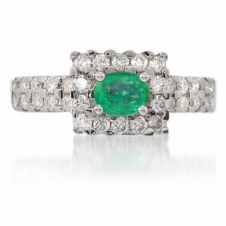 Diamond & Emerald 18k White Gold Ring